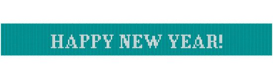 Happy new year knitted blue. Congratulations on Christmas and New Year. Text on a blue background in the form of a ribbon with a knitted fabric texture. Flat vector illustration