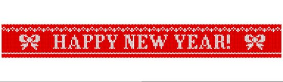 Happy new year knitted bow. Congratulations on Christmas and New Year. Text on a red background in the form of a ribbon with a knitted fabric texture. Flat vector illustration
