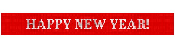 Happy new year knitted. Congratulations on Christmas and New Year. Text on a red background in the form of a ribbon with a knitted fabric texture. Flat vector royalty free illustration