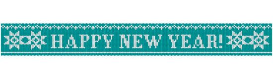 Happy new year knitted star blue. Congratulations on Christmas and New Year. Text on a blue background in the form of a ribbon with a knitted fabric texture vector illustration