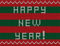 Happy new year knitted text on striped red and green background. Knitting seamless pattern. Vector illustration vector illustration