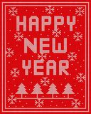 Happy new Year knitted vector design on red background. White knitted on red background Happy new Year pattern .vector design for Christmas day vector illustration