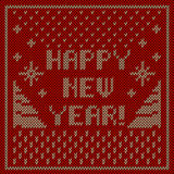Happy new year knitting background. Happy new year! inscription with snowflakes ornament knitting background Royalty Free Stock Photos