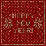 Happy new year knitting background. Happy new year! inscription with snowflakes ornament knitting background Stock Image