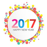 Happy New Year 2017 label. On background with colorful bokeh Royalty Free Stock Photography