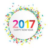 Happy New Year 2017 label on background. With ribbons and confetti Stock Photo