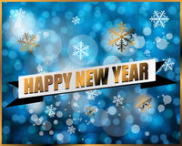 Happy new year label on blue bokeh background Stock Photos