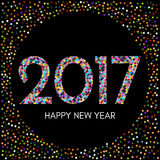Happy New Year 2017 label with colorful confetti on black background. New Year and Xmas Design Element Template. Vector Illustration Stock Photos