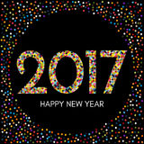 Happy New Year 2017 label with colorful confetti on black background. New Year and Xmas Design Element Template. Vector Illustration Royalty Free Stock Images