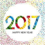 Happy New Year 2017 label with colorful confetti and lines. New Year and Xmas Design Element Template. Vector Illustration Stock Image