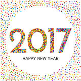 Happy New Year 2017 label with colorful confetti. New Year and Xmas Design Element Template. Vector Illustration Stock Photos