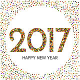 Happy New Year 2017 label with colorful confetti. New Year and Xmas Design Element Template. Vector Illustration Stock Images