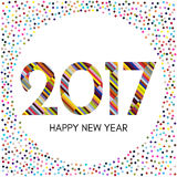 Happy New Year 2017 label with colorful confetti. New Year and Xmas Design Element Template. Vector Illustration Stock Photo