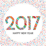 Happy New Year 2017 label with colorful confetti. New Year and Xmas Design Element Template. Vector Illustration Stock Image