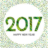 Happy New Year 2017 label with green confetti and lines. New Year and Xmas Design Element Template. Vector Illustration Stock Illustration