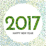 Happy New Year 2017 label with green confetti. New Year and Xmas Design Element Template. Vector Illustration Stock Photo