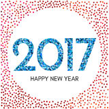 Happy New Year 2017 label with red and blue confetti. New Year and Xmas Design Element Template. Vector Illustration Stock Image