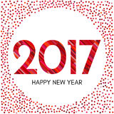 Happy New Year 2017 label with red confetti and lines. New Year and Xmas Design Element Template. Vector Illustration Stock Images