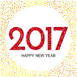 Happy New Year 2017 label with red and yellow confetti. New Year and Xmas Design Element Template. Vector Illustration Royalty Free Stock Photography