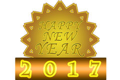 """Happy New Year 2017. """"Happy New Year label/star on a white background Royalty Free Stock Photos"""