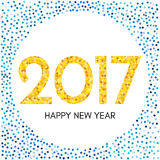 Happy New Year 2017 label with yellow and blue confetti. New Year and Xmas Design Element Template. Vector Illustration Royalty Free Stock Images