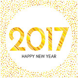 Happy New Year 2017 label with yellow confetti and lines. New Year and Xmas Design Element Template. Vector Illustration Stock Image