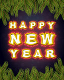 Happy New Year with lamps fir branches. Glowing letters. Vintage Royalty Free Stock Images