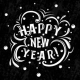 Happy New Year! lettering on a black background. Happy New Year! Lattering inscription with curls and snow on a black background with scuffs. eps 10 vector royalty free illustration