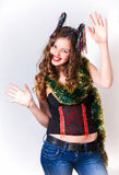 Happy new year of laughing girl. Happy new year portrait of laughing girl Royalty Free Stock Photography