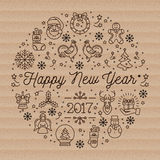 Happy New Year 2017 layout linear icons on cardboard background Stock Photography
