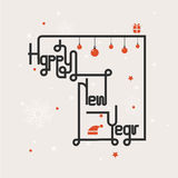 Happy new year lettering abstract background.Hand drawn Happy new Royalty Free Stock Images