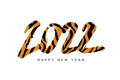 Free Happy New Year Lettering And Large Tiger Numbers 2022. Year Of The Tiger. Striped 2022 Royalty Free Stock Photos - 208100738