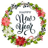 Happy New Year lettering banner for web or social media. Holiday greeting card template. Wreath, frame of winter plants, candy can. Happy New Year lettering stock illustration