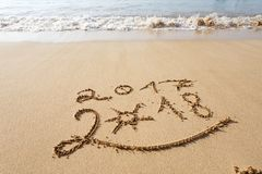 Happy New Year 2018 on the beach Royalty Free Stock Photo
