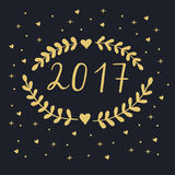 2017 Happy New Year. Lettering 2017 on black background royalty free illustration