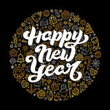 Happy New Year lettering on black background Stock Photos