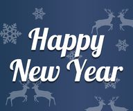 Happy New Year lettering on blue background. Vector illustration Royalty Free Stock Photo