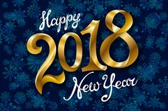 Happy New Year 2018 lettering on blue vector snowflakes background. Art Royalty Free Stock Photos