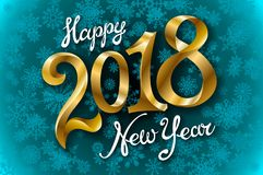 Happy New Year 2018 lettering on blue vector snowflakes background. Art Royalty Free Stock Photo