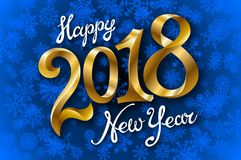 Happy New Year 2018 lettering on blue vector snowflakes background. Art Stock Photography