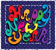 Happy New Year lettering. Calligraphic Happy New Year lettering. Vector illustration. Happy New Year retro postcard. Quote on background Stock Illustration