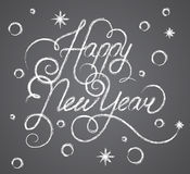 Happy New Year Lettering Chalk on a Blackboard, Beautiful Elegant Text Design, Vector Illustration Royalty Free Stock Images