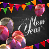 Happy New Year Lettering Chalk Composition Stock Photo