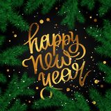 Happy New Year Lettering. Christmas Fir branches. Cute holiday illustration. Great postcard Royalty Free Stock Image