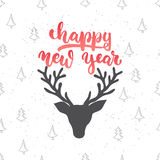 Happy new year - lettering Christmas holiday calligraphy phrase isolated on the background. Fun brush ink typography for Stock Image