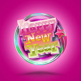 Happy New Year lettering circle. Modern calligraphy 3D style for. Greeting card, poster, photo overlay. Vector illustration. Holiday greeting card design Royalty Free Stock Images