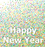 Happy New Year lettering colorful confetti Royalty Free Stock Photo