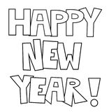 Happy New Year Coloring Page Royalty Free Stock Image