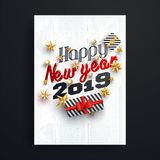 Happy New Year 2019 lettering decorated with golden stars and ba. Ubles for party template or flyer design vector illustration