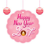 Happy New Year Lettering Decoration Tag With Rooster Royalty Free Stock Images